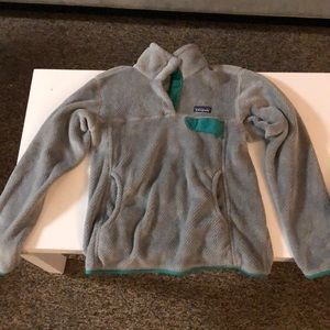 Synchilla Fleece Gray with Turquoise Trim